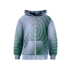 Teal Background Concentric Kids  Zipper Hoodie