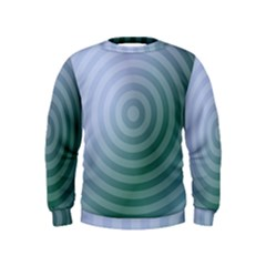 Teal Background Concentric Kids  Sweatshirt