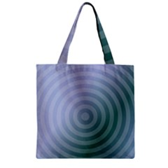 Teal Background Concentric Zipper Grocery Tote Bag