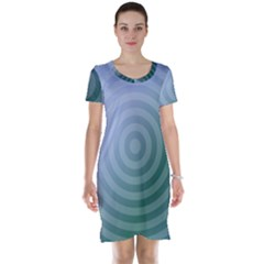 Teal Background Concentric Short Sleeve Nightdress