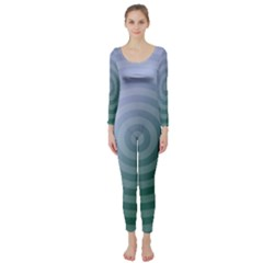 Teal Background Concentric Long Sleeve Catsuit