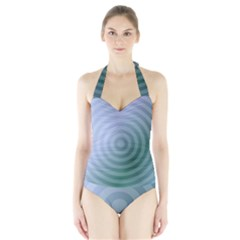 Teal Background Concentric Halter Swimsuit