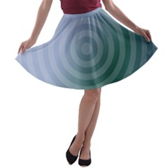 Teal Background Concentric A Line Skater Skirt