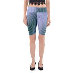 Teal Background Concentric Yoga Cropped Leggings
