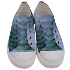 Teal Background Concentric Women s Low Top Canvas Sneakers