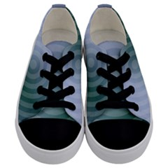 Teal Background Concentric Kids  Low Top Canvas Sneakers