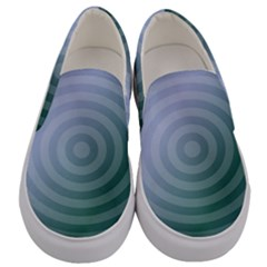 Teal Background Concentric Men s Canvas Slip Ons