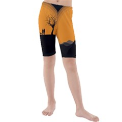 Couple Dog View Clouds Tree Cliff Kids  Mid Length Swim Shorts