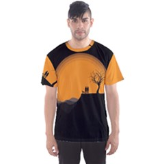 Couple Dog View Clouds Tree Cliff Men s Sports Mesh Tee