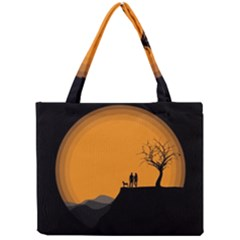 Couple Dog View Clouds Tree Cliff Mini Tote Bag