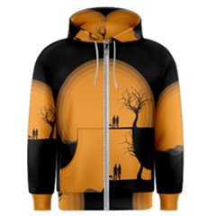 Couple Dog View Clouds Tree Cliff Men s Zipper Hoodie