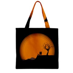 Couple Dog View Clouds Tree Cliff Zipper Grocery Tote Bag