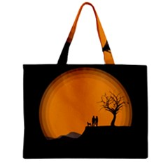 Couple Dog View Clouds Tree Cliff Zipper Mini Tote Bag