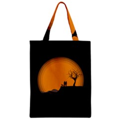 Couple Dog View Clouds Tree Cliff Zipper Classic Tote Bag