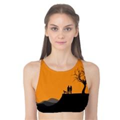 Couple Dog View Clouds Tree Cliff Tank Bikini Top