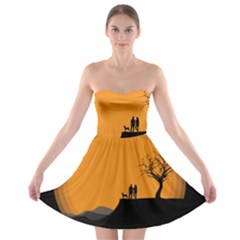 Couple Dog View Clouds Tree Cliff Strapless Bra Top Dress