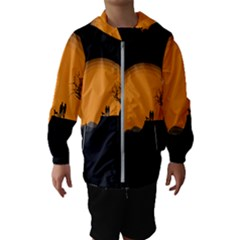 Couple Dog View Clouds Tree Cliff Hooded Wind Breaker (kids)