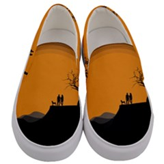 Couple Dog View Clouds Tree Cliff Men s Canvas Slip Ons