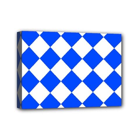 Blue White Diamonds Seamless Mini Canvas 7  X 5