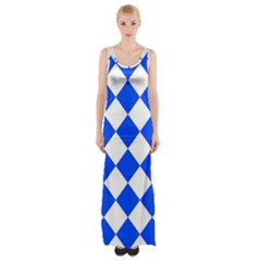 Blue White Diamonds Seamless Maxi Thigh Split Dress