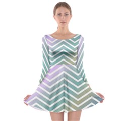 Zigzag Line Pattern Zig Zag Long Sleeve Skater Dress