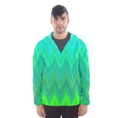 Green Zig Zag Chevron Classic Pattern Hooded Wind Breaker (men)
