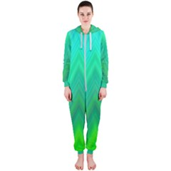 Green Zig Zag Chevron Classic Pattern Hooded Jumpsuit (ladies)
