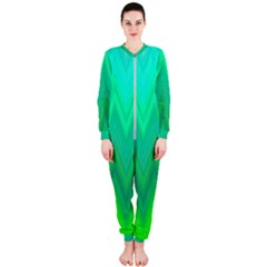 Green Zig Zag Chevron Classic Pattern Onepiece Jumpsuit (ladies)