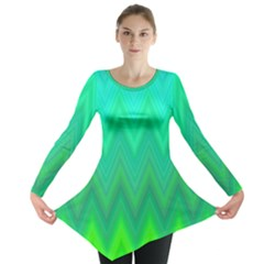 Green Zig Zag Chevron Classic Pattern Long Sleeve Tunic