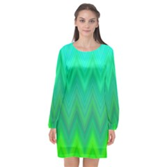 Green Zig Zag Chevron Classic Pattern Long Sleeve Chiffon Shift Dress