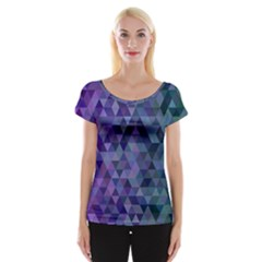 Triangle Tile Mosaic Pattern Cap Sleeve Tops