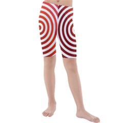 Concentric Red Rings Background Kids  Mid Length Swim Shorts