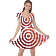 Concentric Red Rings Background Cap Sleeve Dress