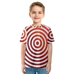Concentric Red Rings Background Kids  Sport Mesh Tee