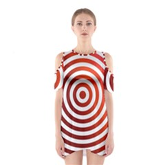 Concentric Red Rings Background Shoulder Cutout One Piece
