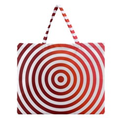 Concentric Red Rings Background Zipper Large Tote Bag