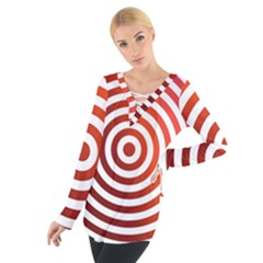 Concentric Red Rings Background Tie Up Tee