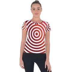 Concentric Red Rings Background Short Sleeve Sports Top