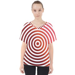 Concentric Red Rings Background V Neck Dolman Drape Top