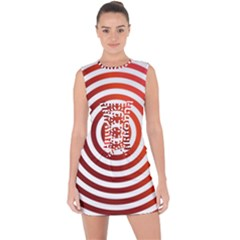 Concentric Red Rings Background Lace Up Front Bodycon Dress