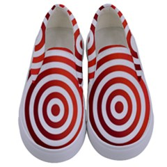 Concentric Red Rings Background Kids  Canvas Slip Ons