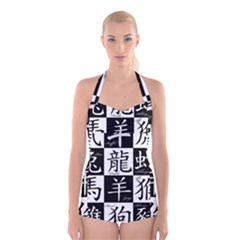 Chinese Signs Of The Zodiac Boyleg Halter Swimsuit