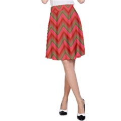 Background Retro Red Zigzag A Line Skirt