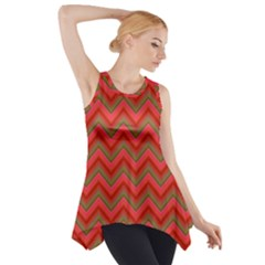 Background Retro Red Zigzag Side Drop Tank Tunic