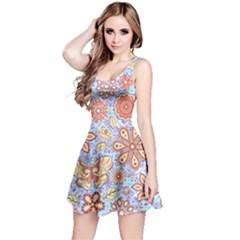 Coral & Light Blue Flowers & Butterfly Reversible Sleeveless Dress