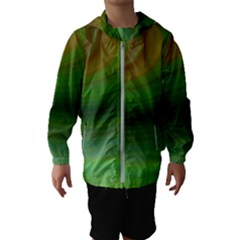 Green Background Elliptical Hooded Wind Breaker (kids)