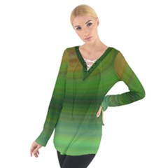 Green Background Elliptical Tie Up Tee