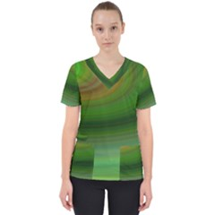Green Background Elliptical Scrub Top