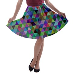 Triangle Tile Mosaic Pattern A Line Skater Skirt