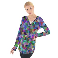 Triangle Tile Mosaic Pattern Tie Up Tee